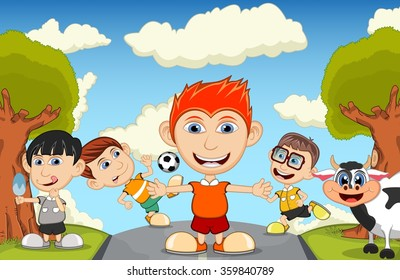 Children playing at the street waving their hand, eating ice cream and playing soccer with cow cartoon
