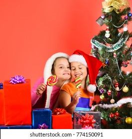 Children with pleased faces hug eating candies on red background. Sisters in Santa hats with gift boxes open presents, copy space. Girls celebrate Christmas together. Childhood and happiness concept