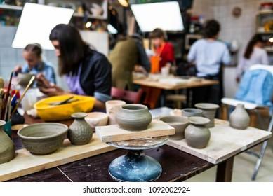 Children at pottery workshop