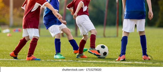 Children practicing football on grass lawn. Elementary age kids kicking soccer ball on primary school pitch. Boys between the ages of 6–11 playing sports