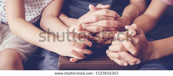 children praying with parent at home, family pray together, online group worship, World Day of Prayer,international day of prayer, hope, gratitude, thankful, trust