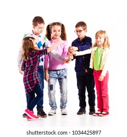 Children with raised hands