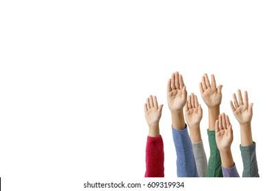 Children raising a hand