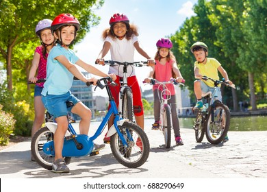 Children riding bicycles during summer vacation