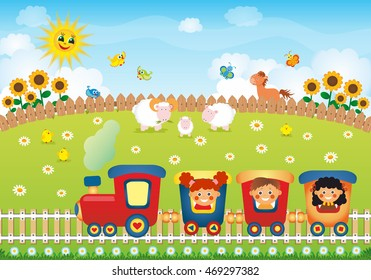 Children riding train on the village