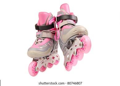 Children roller skates isolated on white background