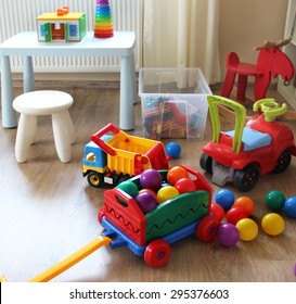 Children room interior with a lot of multicolored toys