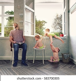 Children run away from home through the window, while the father sleeps. Photo combination concept