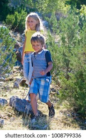 children run down in summer