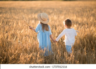 Children run on a rye field. Brother and sister run across the field holding hands. Sunset light in summer field. Image with selective focus, toning and noise.