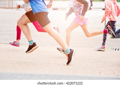 Children running in the park - summer race