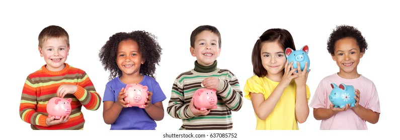 Children saving with their piggy bank isolated on a white background