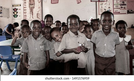 Children from a school in Accra who want to be in the picture. The picture taken in Achimota, located in the northern part of Accra Ghana 2018 November 13.
