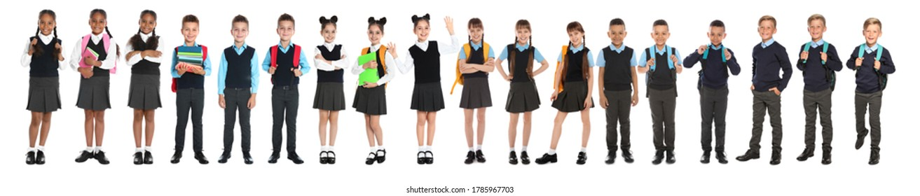 Children in school uniforms on white background. Banner design
