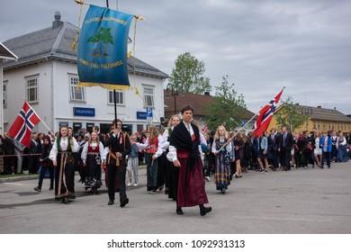 Children schools and people celebrating in Norwegian Constitution Day in Elverum city of hedmark county in Norway in 17, May 2018