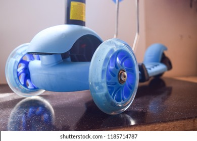 Children scooter,wheels-fragment. Technical device of entertaining and sporting character, for the development of the human vestibular   apparatus.