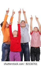 Children showing a finger up isolated on white