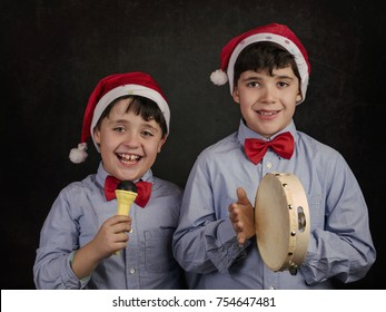 children singing Christmas carols at  Christmas