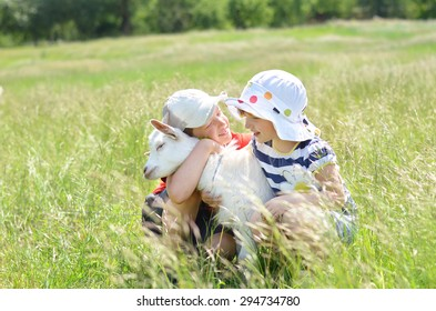 Children sitting with baby goat outside