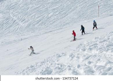 children skiing - Shutterstock ID 134737124