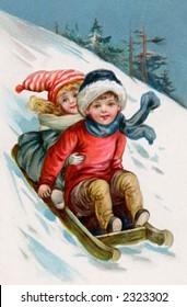 Children sledding - a 1911 vintage illustration
