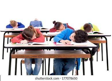 Children sleeping in the classroom