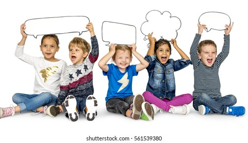 Children Smiling Happiness Friendship Togetherness Speech Bubble