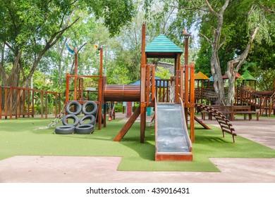 children Stairs Slides exercise equipment in garden.