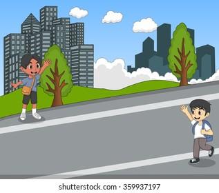 Children at the street waving their hand cartoon