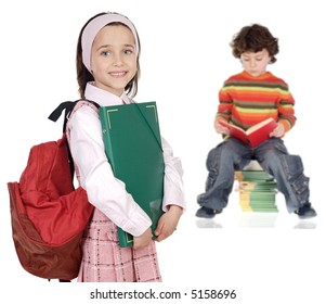 children students a over white background - focus in the first plane -