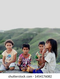 Children of Sumba Island, a guardian of Wairinding Hill in East Sumba - October 27, 2017