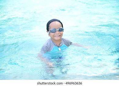 Children swimming happily.