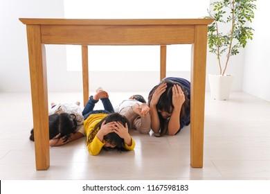 Children taking refuge from earthquake