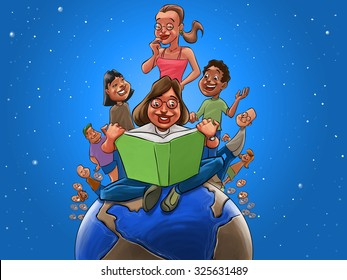 Children and teacher reading a book above the earth globe