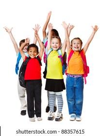 Kinder mit den Händen hoch, einzeln