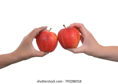 children touching apples together isolated white background