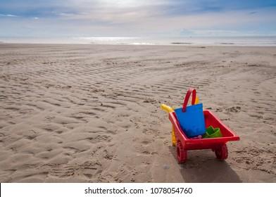Children toy at beach, summer vacation concept.
