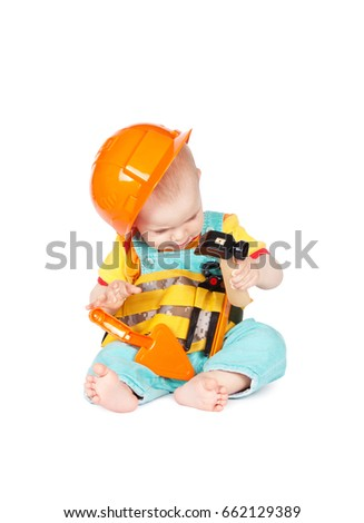 cdb3225e049 Children with toy tools isolated on white background. Building concept