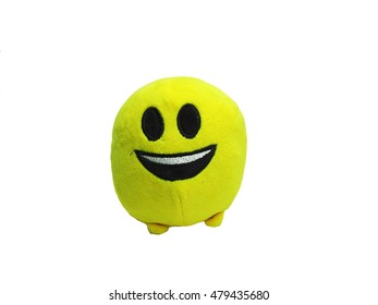 Children toy. Yellow round smile with small legs.