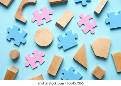 Children toys on blue background
