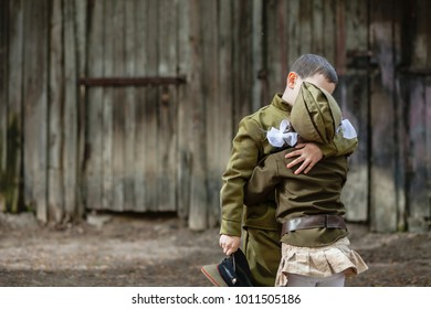 """Children in uniform.Soldiers,the defenders of the Fatherland. """"I remember, I'm proud!"""".Military history.defender of Fatherland. Military theme.Military uniform."""