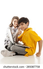 children using a laptop over white background.