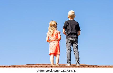 Children watch what happened upstairs.