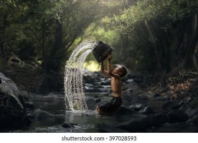 Children with water