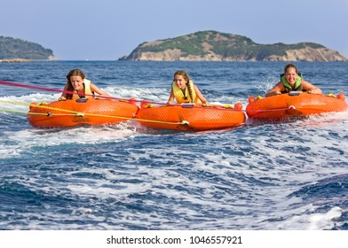 Children water sport adventure on the sea