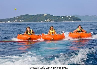 Children water sport adventure on the sea
