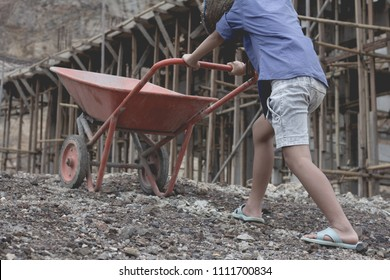 Children work construction because of poverty. Violence children and trafficking concept,Anti-child labor, Rights Day on December 10.