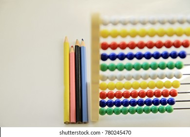 children's abacus sitting on the table at school