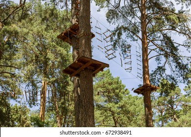 Children's Adventure Park bridges, ropes and stairs designed for beginners in woods among tall pine trees. Adventure climbing on high wired park. Course of high ropes in forest. Zipline Activity