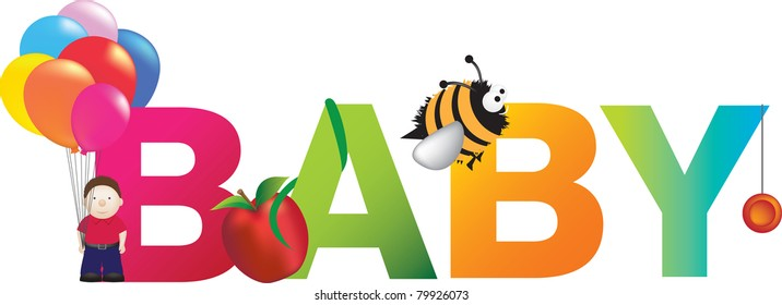 childrens alphabet letters spelling out the word baby